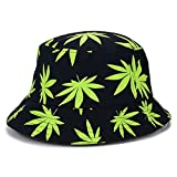 Vogue Hemp Leaf Design Basin Cap Bucket Hat Fisherman Summer Beach Panama Cap