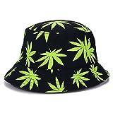 Vogue Hemp Leaf Design Basin Cap Bucket Hat Fisherman Summer Beach Panama Cap