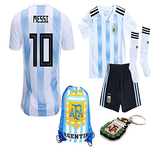 Argentina World Cup 2018 18 Kid Youth Replica L. Messi Jersey Kit : Shirt, Short, Socks, Bag, PVC Key (L. Messi, Size K28 (11-12 Yrs Old Approx.))