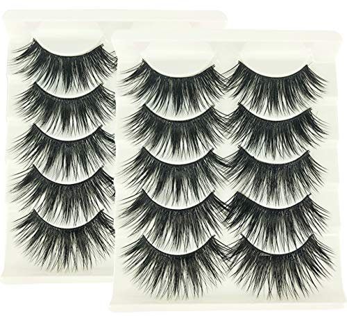 2 Box/Lot 3D False Eyelashes MZ BEAUTY Luxurious Fluffy Messy Cross Long 10 Pairs Fake Eye Lashes GF29]()