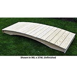 Amish-Made Weight-Bearing Pine 4' x 12' Plank Garden Bridge, Linden Leaf Stain
