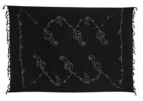 Sarong Pareo Dhoti Lunghi ca. 170cm x 110cm Schwarz Einfarbig mit Bunter Stickerei Handgefertigt