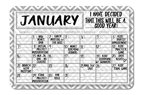 Gray Geometric Pattern Decorative Wall Calendar Planning Board - Reusable Easy Clean by Honey Dew Gifts