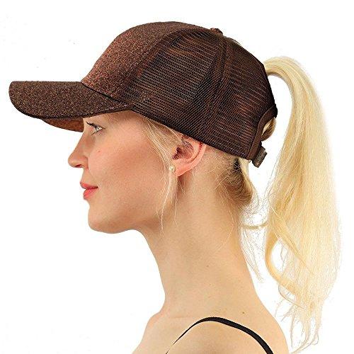 (COCO LEE Trend Glitter Baseball Cap for High Ponytail Women's Messy Bun Glitter Trucker Baseball Cap Special for Women Girl (Brown))