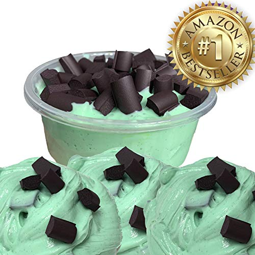JUMBO MINT CHOCOLATE CHIP SCENTED SLIME! CRUNCHY and STRETCHY!!! 8oz.