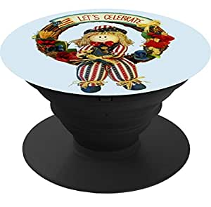 Expanding Stand and Grip Cell Phone Holder Mount for smart phone and Tablet-Let's Celebrate Patriotic Scarecrow