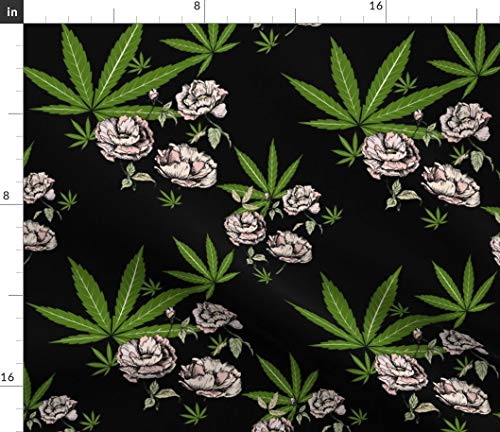 Leaf Green Cotton Spandex - Cannabis Flower Fabric - Weed Rose Green Black Floral Cannabis Marijuana Mary Jane Peony Pot Leaf by Mischievousdesign Printed on Cotton Spandex Jersey Fabric by The Yard