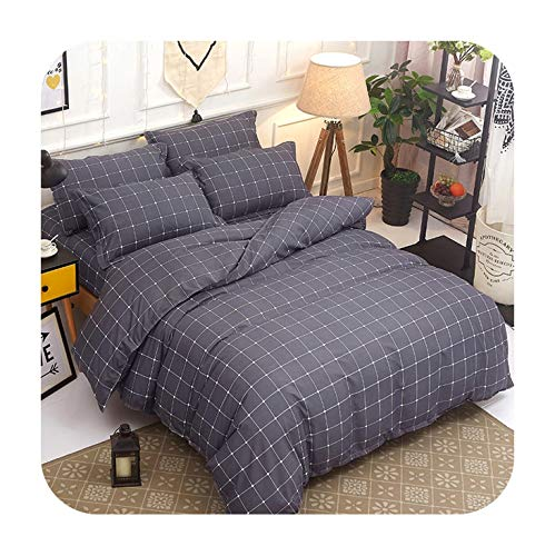 Barry-Story Beddings 4PCS Beddingset Stripe Printed Duvet Cover Bed Sheet Pillowcase Polyester Brief Full King Queen Tiwn Beding Cover,as picture6,Full