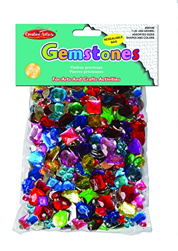 Charles Leonard Creative Arts Acrylic Gemstones, Assorted Shapes and Colors, 1-Pound Bag (59100) (Faceted Flat Beads Teardrop)