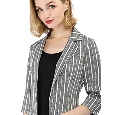 Allegra K Women's Striped 3/4 Sleeves Open Front Notched Lapel Blazer at Women's Clothing store