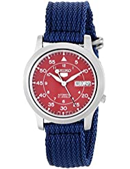 Seiko Mens SNKM95 Stainless Steel Automatic Watch with Blue Canvas Band