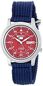 Seiko Men's SNKM95 Stainless Steel Automatic Watch with Blue Canvas Band