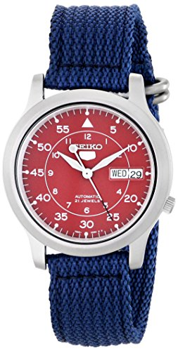 Seiko-Mens-SNKM95-Stainless-Steel-Automatic-Watch-with-Blue-Canvas-Band