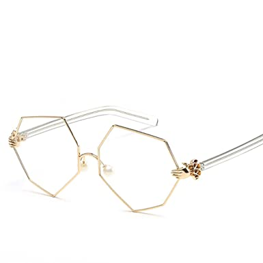 04cdbf56c3 Image Unavailable. Image not available for. Color  HOBULL Sunglasses for  Women Girls Polygonal Irregular Side Sturdy Metal Frame Glasses Fashion ...