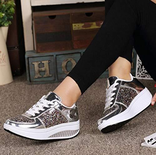 Paillettes Scarpe Traspiranti Leggero Ammortizzanti Traspirante Alto Ysfu Da Sneakers Leggins Donna Outdoor Fitness Sportive Con Sneaker Tacco vw0pqB