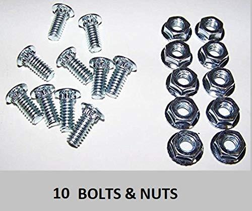"Track Bolts - Garage Door Hardware Screw - 10 Nuts - 10 Bolt 1/4"" x 5/8"""