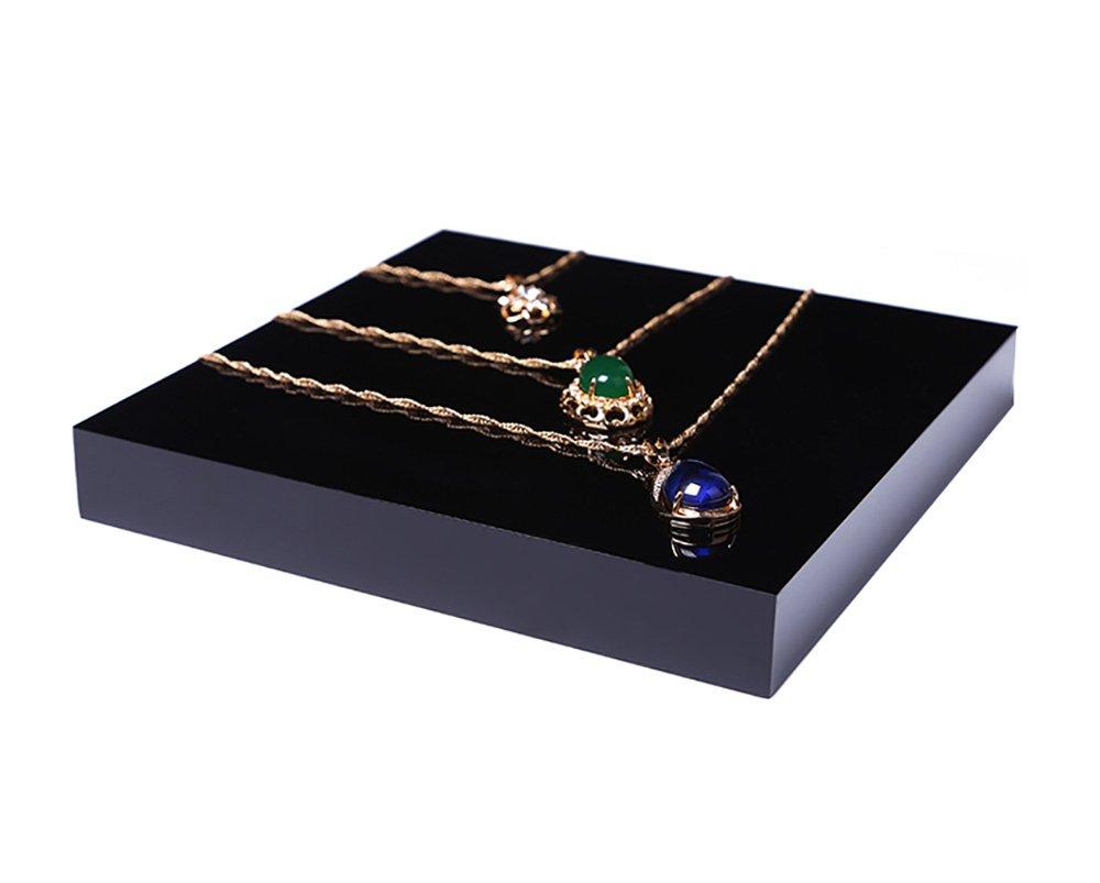 Fine Jewelry Display Platform Block Black Premium Acrylic Necklace Ring Earrings Precious Stones Photography Exhibition Art (Set of4) by Svea Display (Image #5)