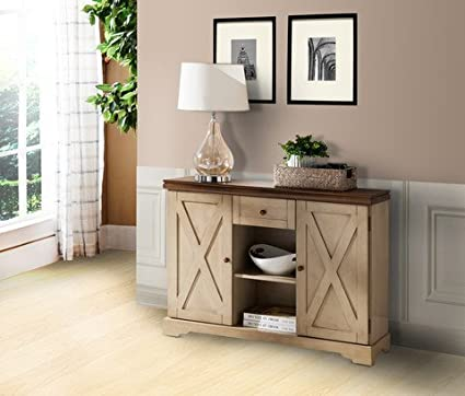 Pilaster Designs   Wood Buffet Cabinet Console Table With Storage   Antique  White / Walnut