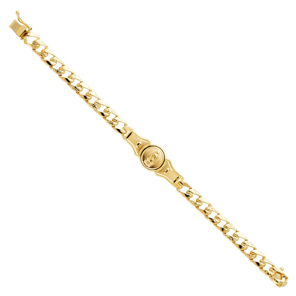 CUSTOM ENGRAVED - 14K Yellow Solid Gold Stamp Nugget Cuban Link Guadalupe ID Bracelet - 6''