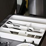"Multifunctional Flatware Silverware Drawer Organizer Stationery Cutlery Tray Utensil Plate Holder Divider Kitchen Office Removable 2-Layer - WHITE, 15.6""*11.7""*2.8"", BPA FREE"