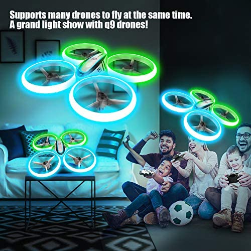 Q9s Drones for Kids,RC Drone with Altitude Hold and Headless Mode,Quadcopter with Blue&Green Light,Propeller Full Protect,2 Batteries and Remote Control,Easy to Fly Kids Gifts Toys for Boys and Girls 519PDvnF PL