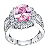 FENDINA Womens Silver Plated Pretty Created Pink Gem Stone CZ Diamond Crystal Wedding Engagement Bands Girlfriend Promise Rings for Her