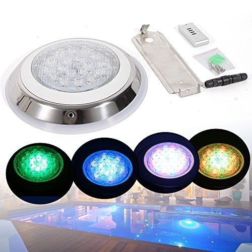 - GDAE10 Pool LED Decorative Light,IP68 24V Underwater LED Swimming Pool Light Fountain RGB Lamp Remote Control Light for Fish Bowl, Swimming Pool, Wedding,Party (24W)