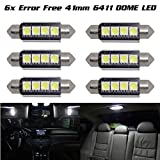 98 silverado dome light cover - Partsam 6X White 42MM Festoon Bulbs 5050 Interior Dome Map Cargo Error Free Light 211-2 for Chevrolet Express 1500 2500 3500 etc.