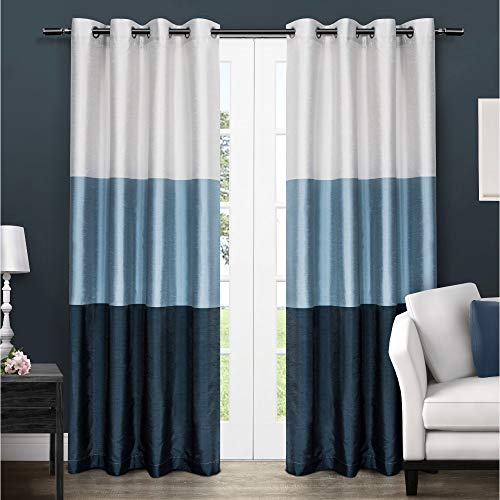 Exclusive Home Curtains Chateau Striped Faux Silk Window Curtain Panel Pair with Grommet Top, 54x84, Indigo, 2 Piece (Ombre Curtain Panel Blue)