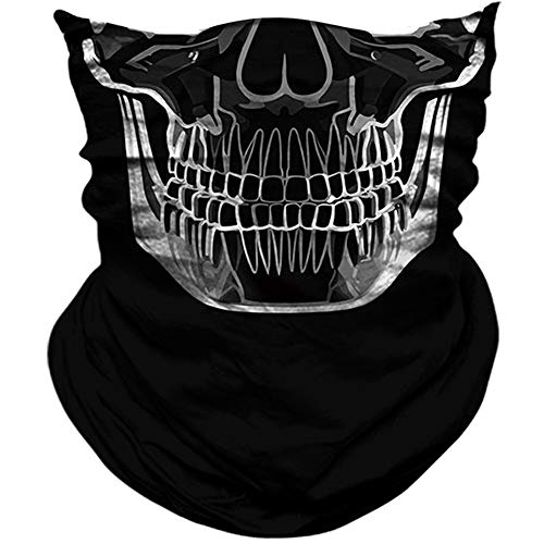 AXBXCX 3D Skull Skeleton Neck Gaiter Face Mask for Motorbike Motorcycle Cycling Riding Hiking Hunting Fishing Skateboard Powersports Cosplay Halloween Party Music Festivals Raves Face Mask PL180454 -