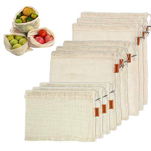 Reusable Produce Bags, Aiseeny Grocery Bags for Fruits, Vegetable, Food, Storage - Organic Cotton Mesh Bag with Drawstring, Tare Weight on Label, Washable - Zero Waste Reusable Shopping Bags 9 Pack