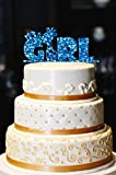 It's A Girl Cake Topper, Giraffe Cake Topper, Glitter Baby Shower Cake Topper, Glitter Gender Reveal Cake Topper, Glitter Baby Shower Decor (14'', Glitter Royal Blue)