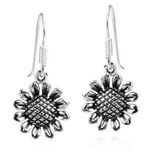 Charming Sunflower .925 Sterling Silver Dangle Earrings