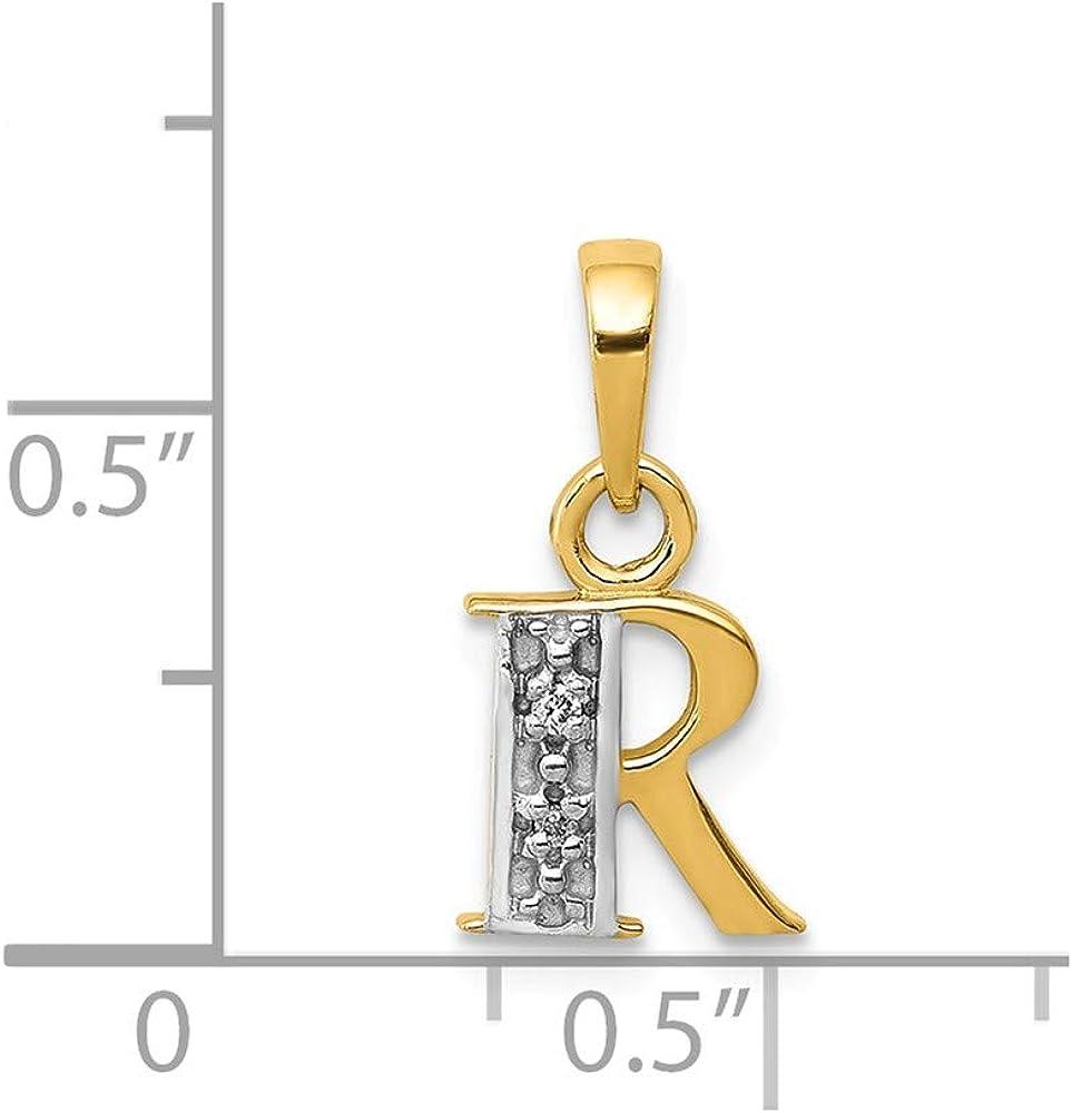 14K Gold Polished 0.01 CTW Diamond Initial H Charm Pendant