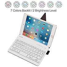 Portable Universal 7-9 inch Tablets Bluetooth Keyboard with 7-Colors Backlit, Raydem Ultra Slim Wireless Bluetooth Keyboard with Stand-Function Leather Cover Case for iPad, Tablets, Smartphones