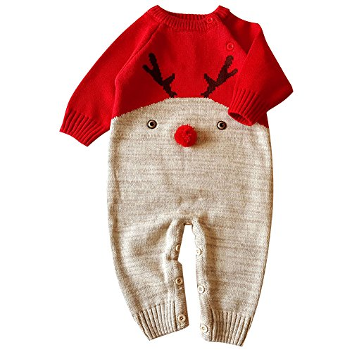 Amazon.com: M&A Newborn Baby Warm Knitted Sweater Romper Cute Christmas Elk Jumpsuit: Clothing