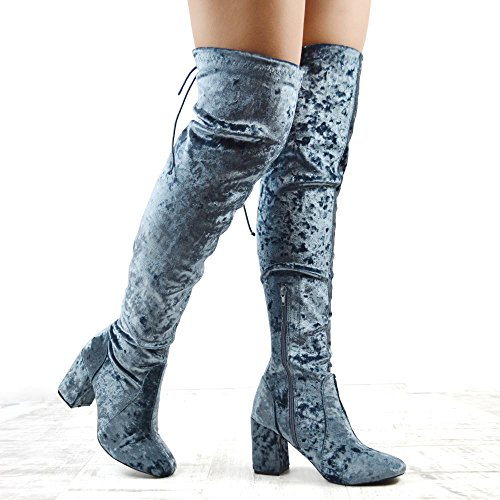 Essex Glam Dames Over De Knie Blok Hiel Fluweel Dij Hoge Laarzen Grijs Geperst Fluweel