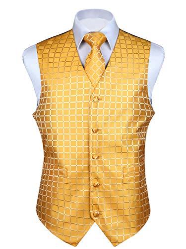 HISDERN Men's Solid Check Jacquard Waistcoat & Necktie and Pocket Square Vest Suit Set - Waistcoat Patterned
