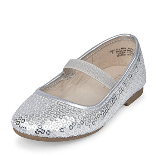 Silver Toddler Shoes (The Children's Place Girls' Ballet Flat, Silver-Ballet, TDDLR 9 M US Toddler)