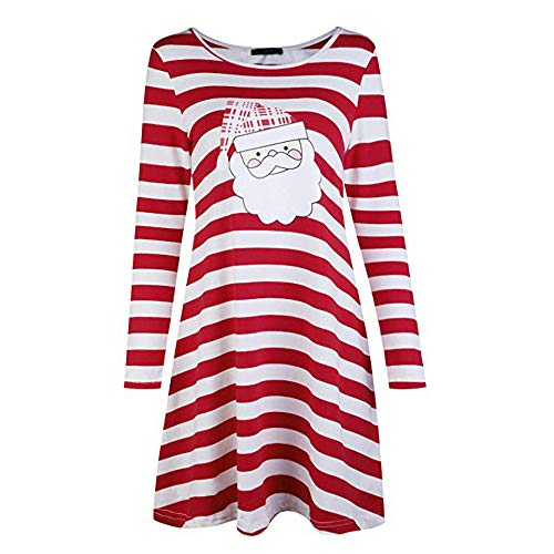 HYIRI ✈ clearence!!!Fashion Stripe Dress,Women Round Collar Christmas Elk Casual Dress ()