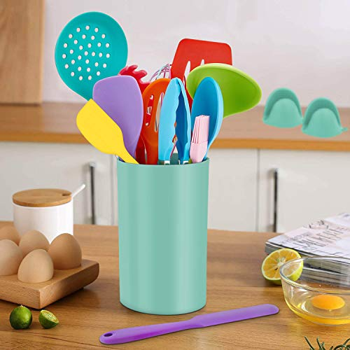 Homikit 42 Pieces Colorful Cooking Utensils Set with Holder, Silicone Kitchen Gadgets Tools for Nonstick Cookware, Heat Resistant Utensil Spatula Spoon Turner Skimmer, Dishwasher Safe