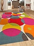Modern Contemporary Circles Non-Slip (Non-Skid) Area Rug 8 x 10 (7′ 10″ x 10′) Multi