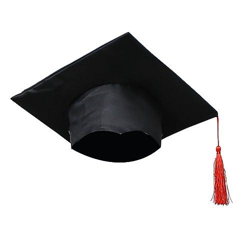 LUOEM Cappellino regolabile Graduazione cappello 2018 Cappellino nero per  laurea con Fiocco rosso per bambini 46f7131bede5