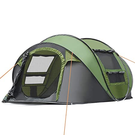 IC ICLOVER Camping Tents 3-4 Person Pop Up Family Tent 2 Door 4 Mesh Windows Waterproof 4 Season Automatic Setup Big Dome Shelter for Hiking Picnic Backpacking Travel Green
