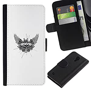 NEECELL GIFT forCITY // Billetera de cuero Caso Cubierta de protección Carcasa / Leather Wallet Case for Samsung Galaxy S4 IV I9500 // Triple Ala Cráneo