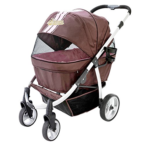 ibiyaya Double Dog Stroller for Large Dogs up to 77 Ibs, Aluminum Frame, 4-Wheel with Suspension (Buggy Stroller)