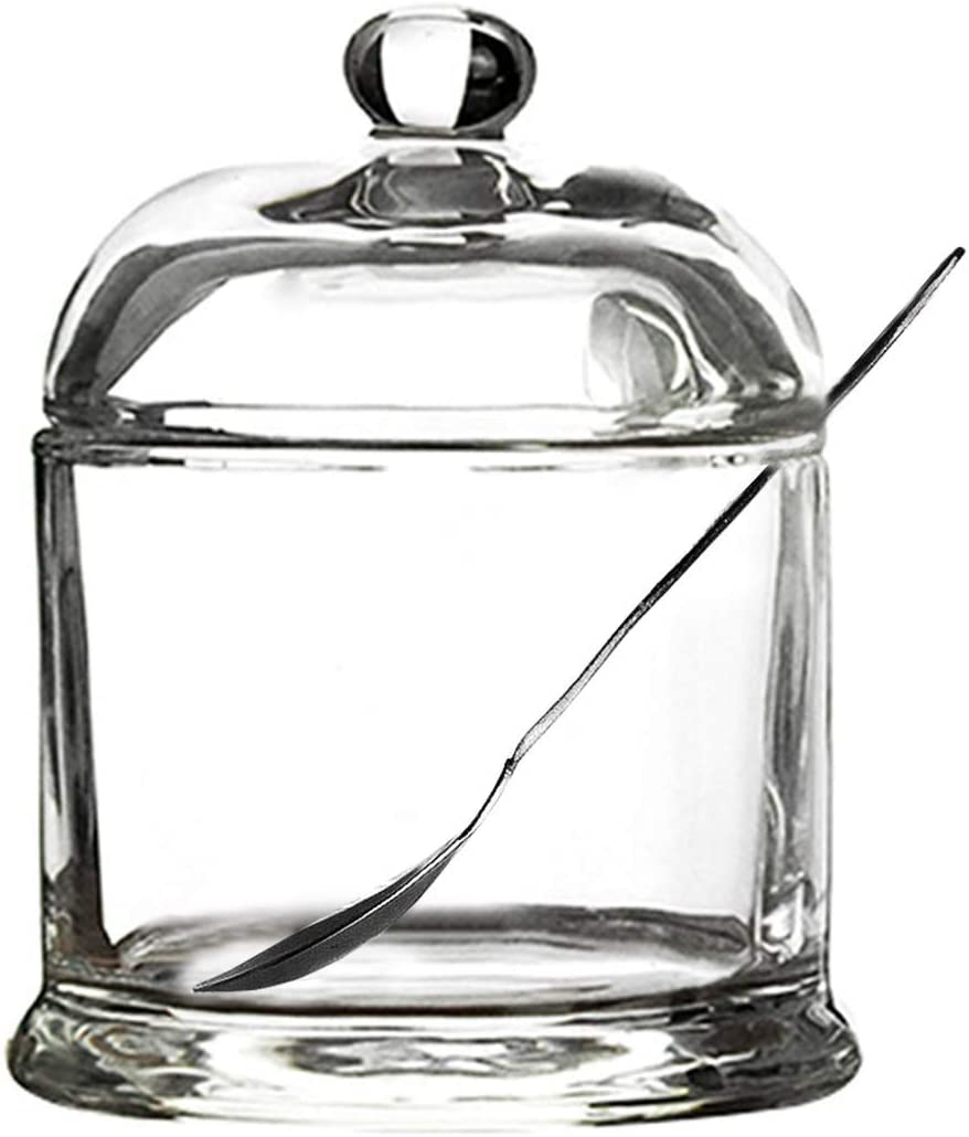 Glass Sugar Bowl Spice Jar Seasoning Pot with Lid And Stainless Steel Spoon