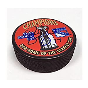 AJ Sports World GILB10305A Greg Gilbert New York Rangers Autographed 1994 Stanley Cup Puck
