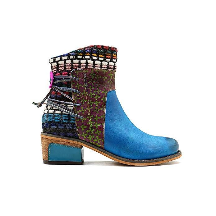 Left amp;right Women ' S Blue Stivaletti Stivali Di Pelle Doppia Cerniera Fissaggio Casual Shoes Moda Fatti A Mano Denim Comfort Boots