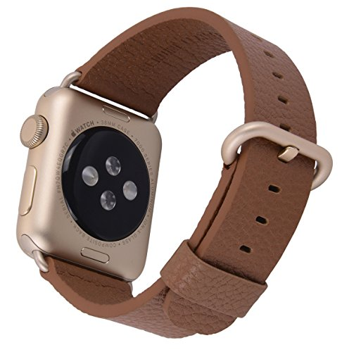 JSGJMY Apple Watch Band 38mm Leather Strap Replacement Watchbands for iWatch Series 3/Series 2/Series 1/Edition/Sport(Light Brown+Golden Clasp)